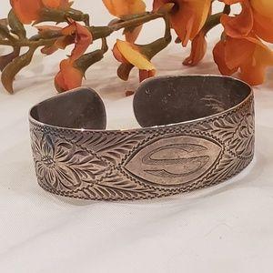 Vintage Floral Hand Engraved Cuff Bracelet